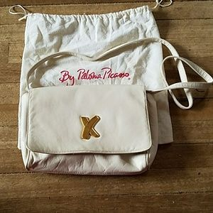 Paloma Picasso white leather purse handbag
